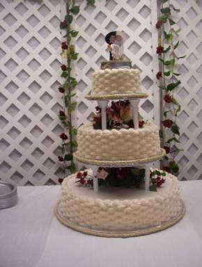Buttercream Basketweave Cowboy Cake with Rope Around the Cake Boards wedding cake