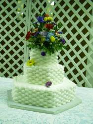 Basketweave Hexagon wedding cake