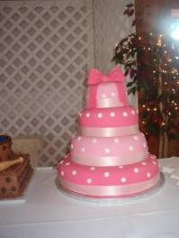 pink ribbon wedding cake